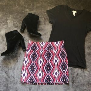 Charlotte Russe Pink Tribal Body-con Skirt